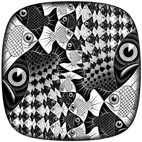 Fishes And Scales M C Escher Opart 1959 Mc Escher
