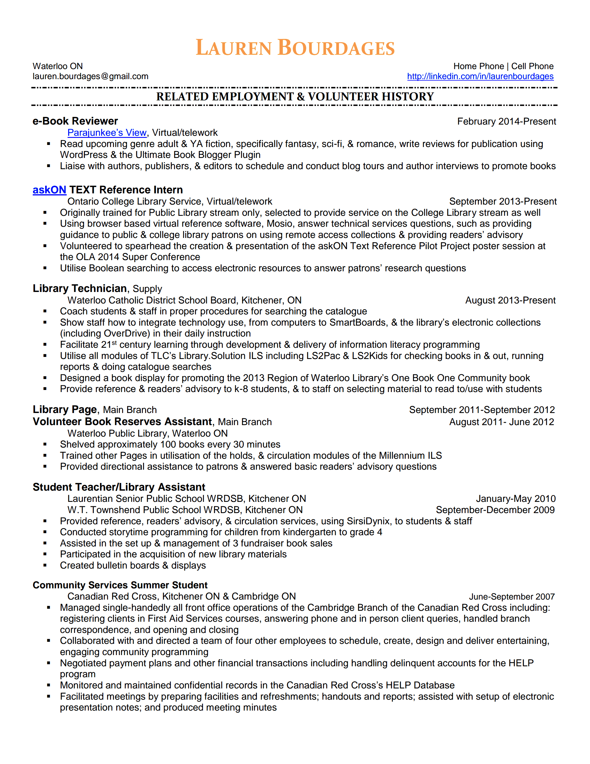 Free Resume Samples, Cover Letter Samples And Tips.  Personal Resume Examples