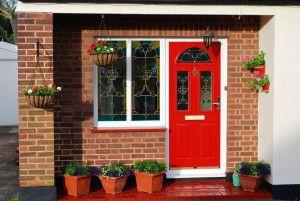 Red Door White Surrounds Orange Brick Front Door Colors