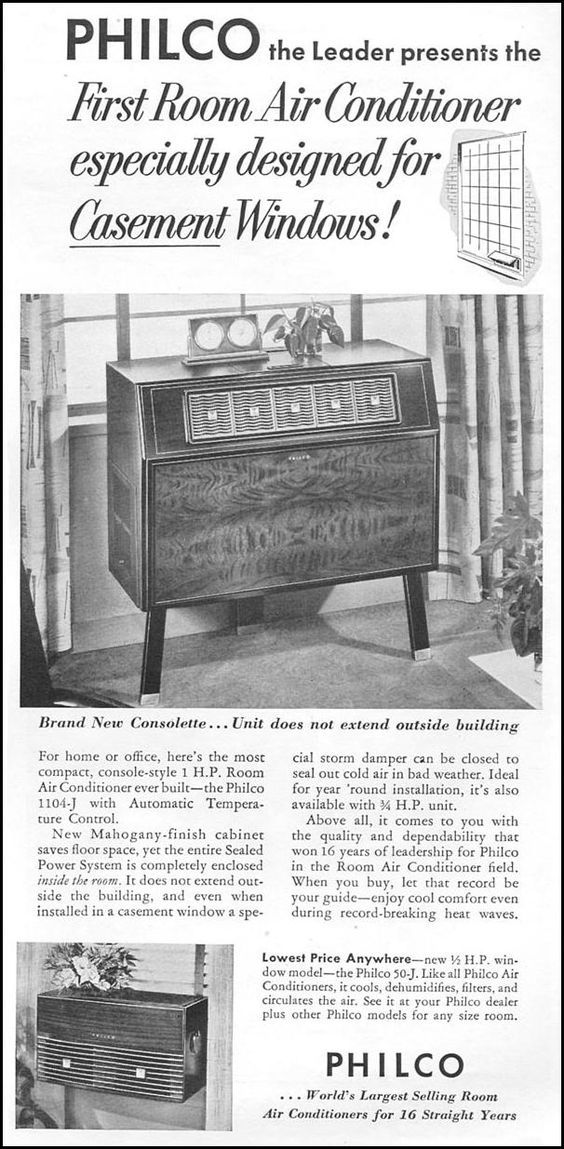 1953 Philco Ad For The 1st Room Air Conditioner Especially For