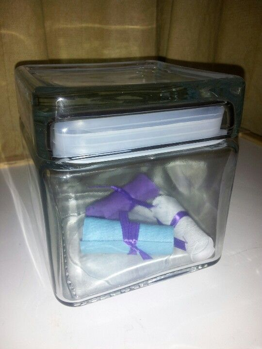 Memory jar for graduation party. Memory notes rolled into small deplomas.  (Purple , teal, lavender color scheme.)