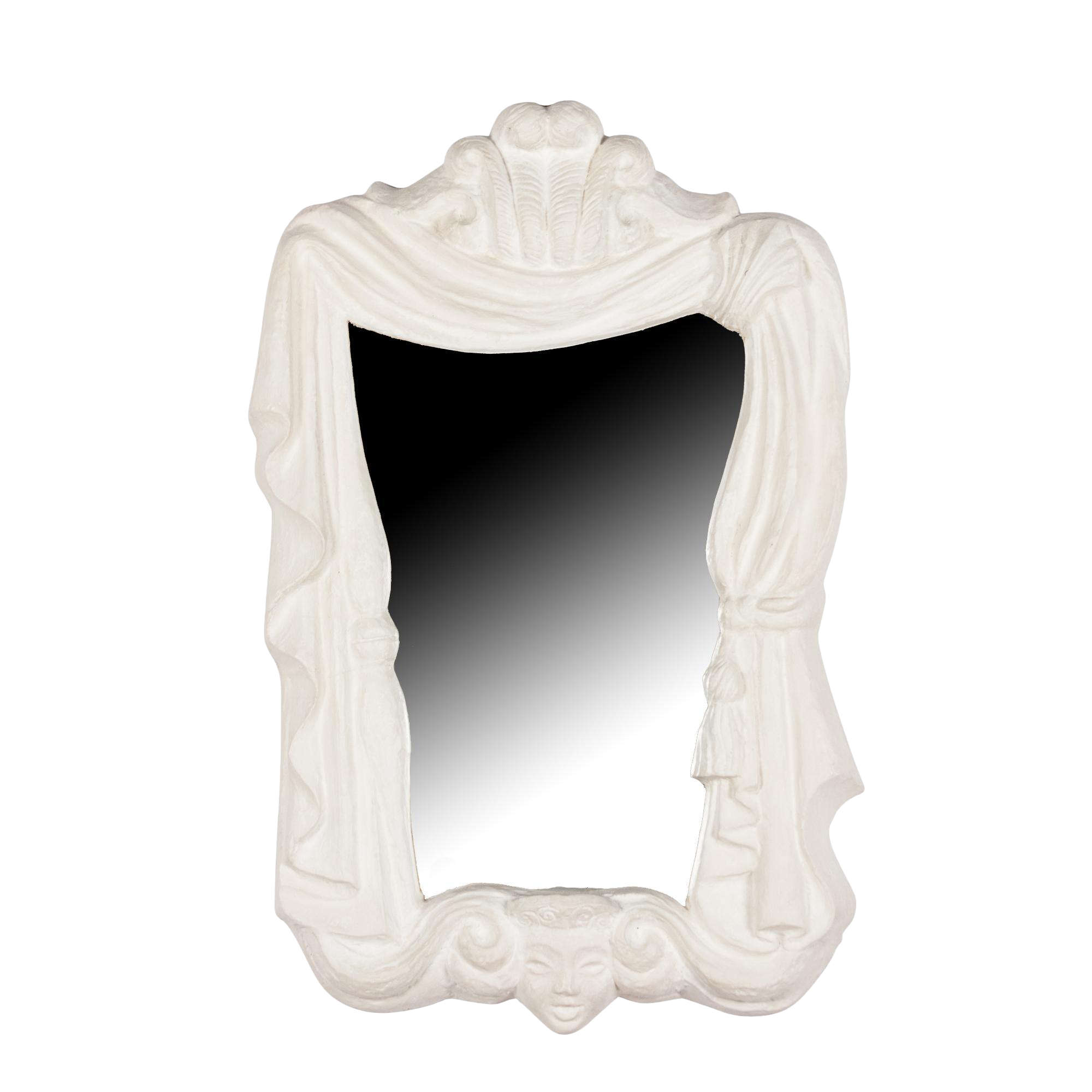 Plaster Frame Mirror With Draping Motif, French, Circa 1940 On