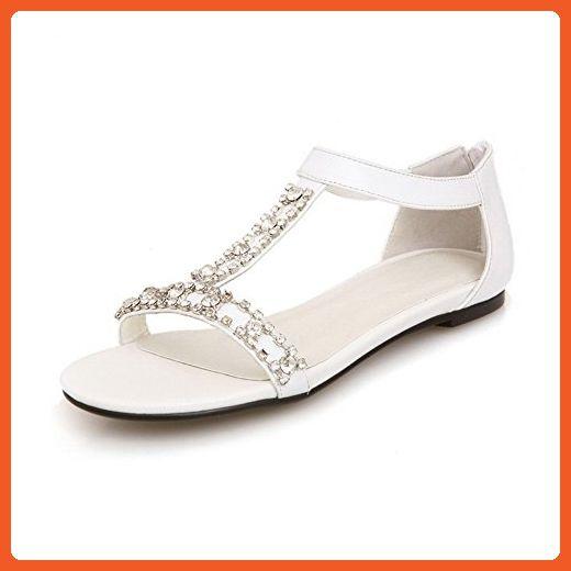 Women's Soft Material Open Toe No Heel Zipper Solid Flats-Sandals