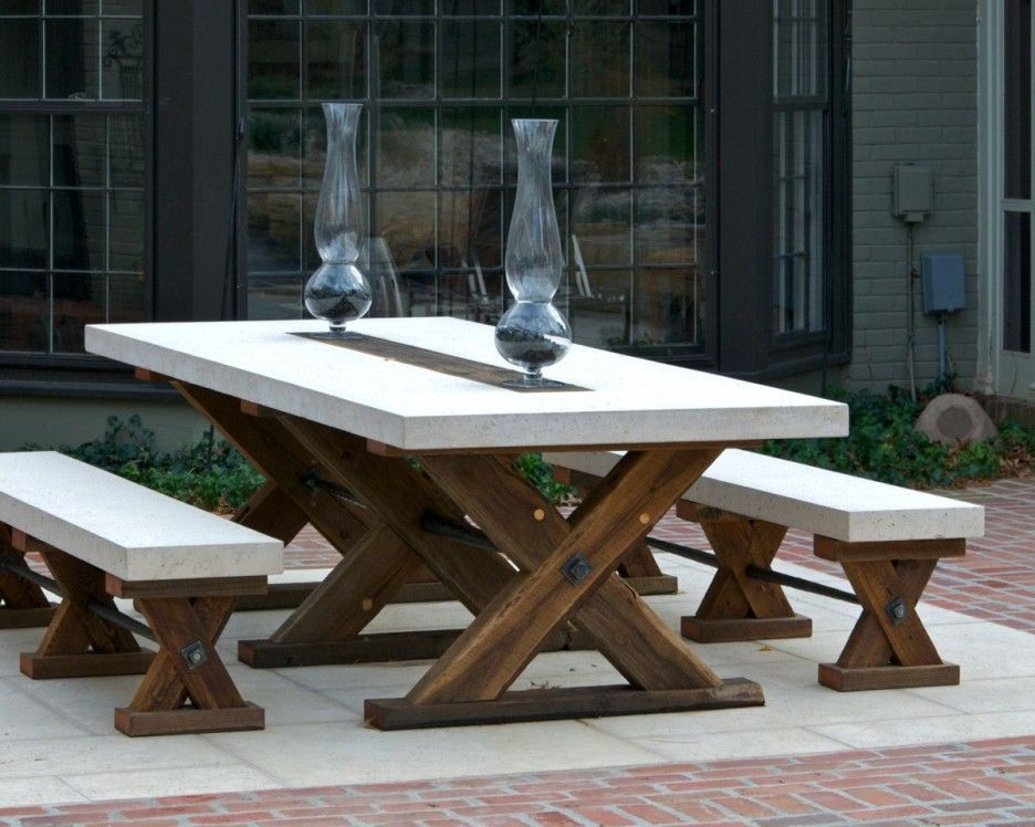 Adorable Wood Patio Furniture Ideas Featuring X Shape Brown Rustic
