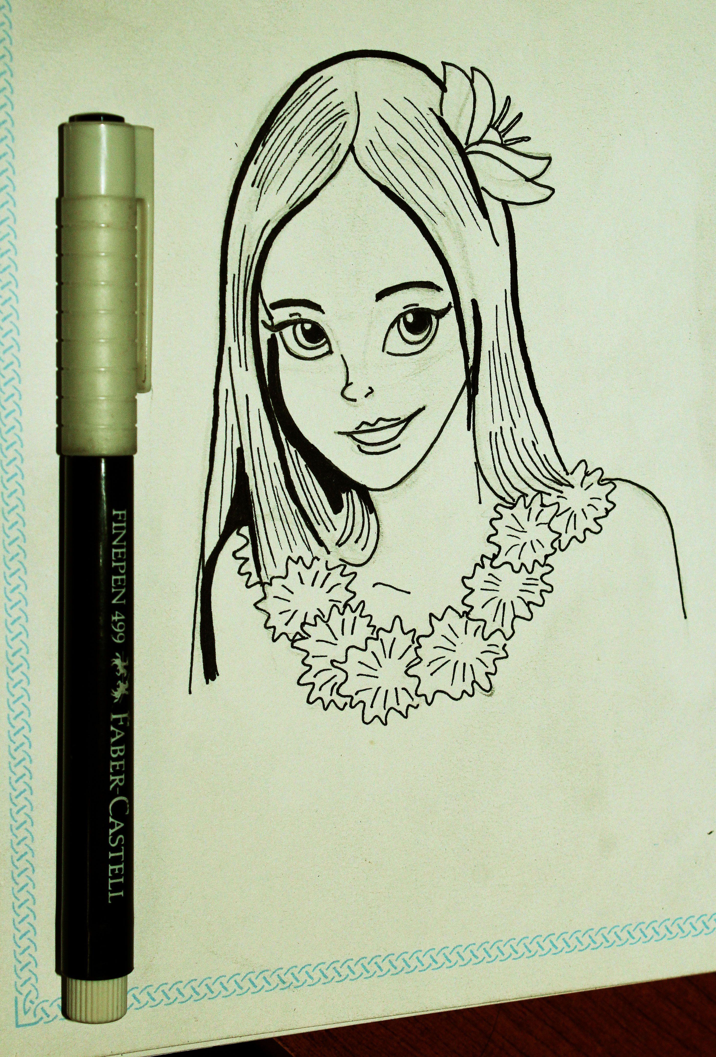 Nina Hawaiana Art Line Female Sketch Art Photo