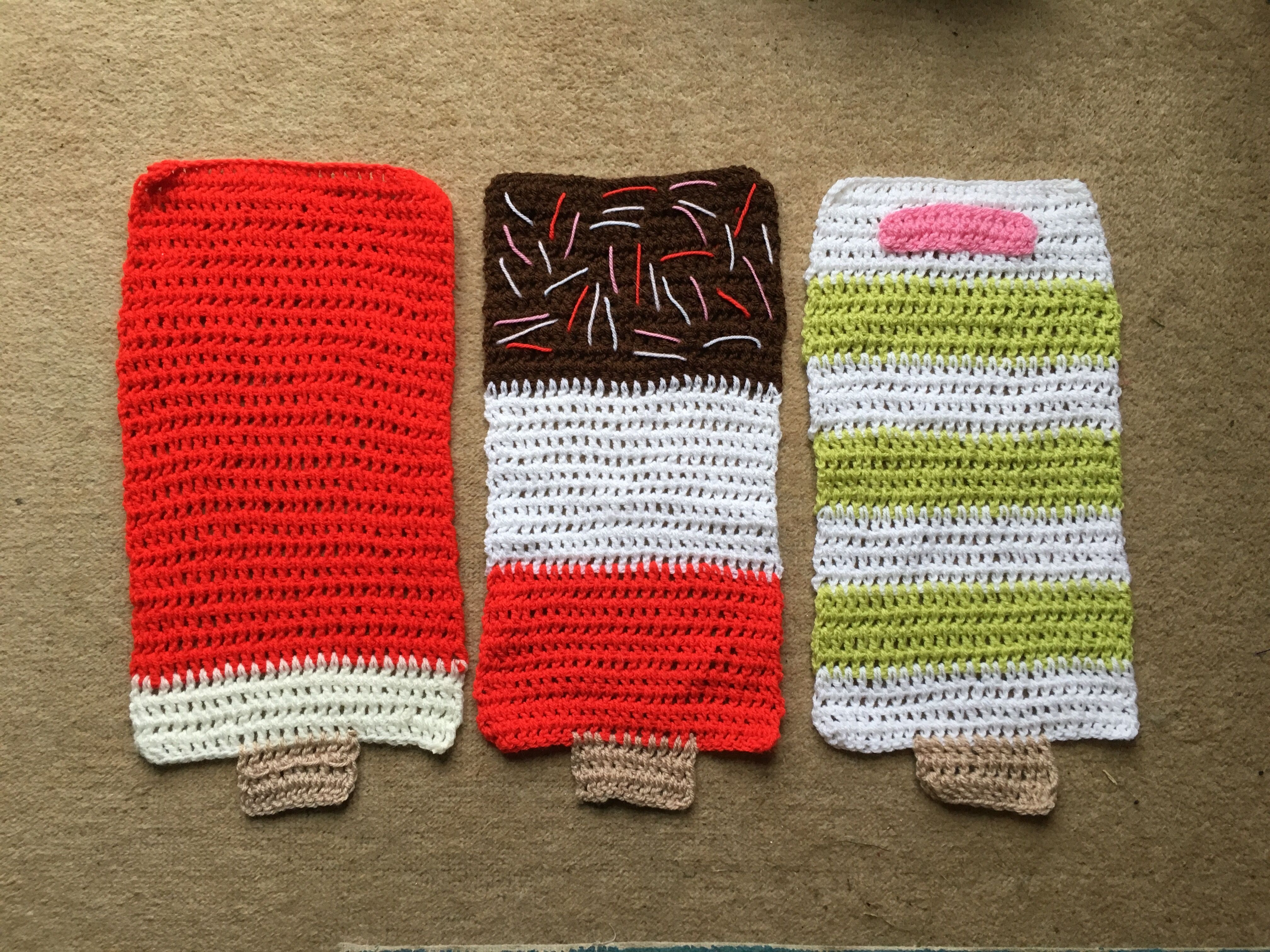 Ice lolly crochet place mats