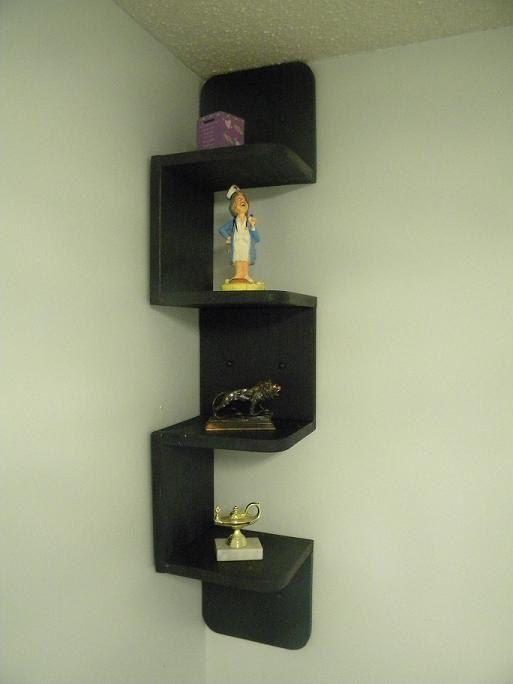 Black Corner Wall Shelf wall mounted corner zig zag shelf retro black | wall mounted