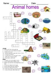 English worksheet: Animal Homes crossword | Keep calm | Pinterest ...