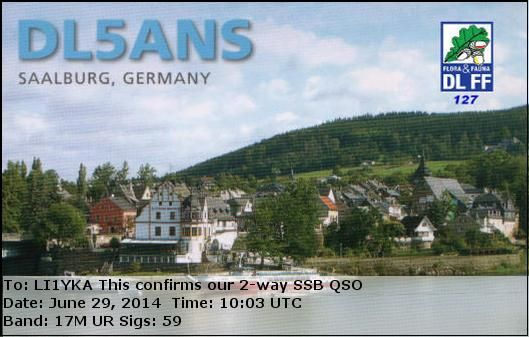 eQSL From DL5ANS Germany