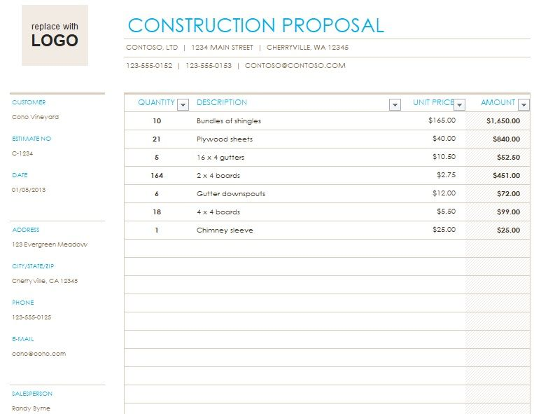 Construction Proposal Template Excel In 2021 Proposal Templates Proposal Templates