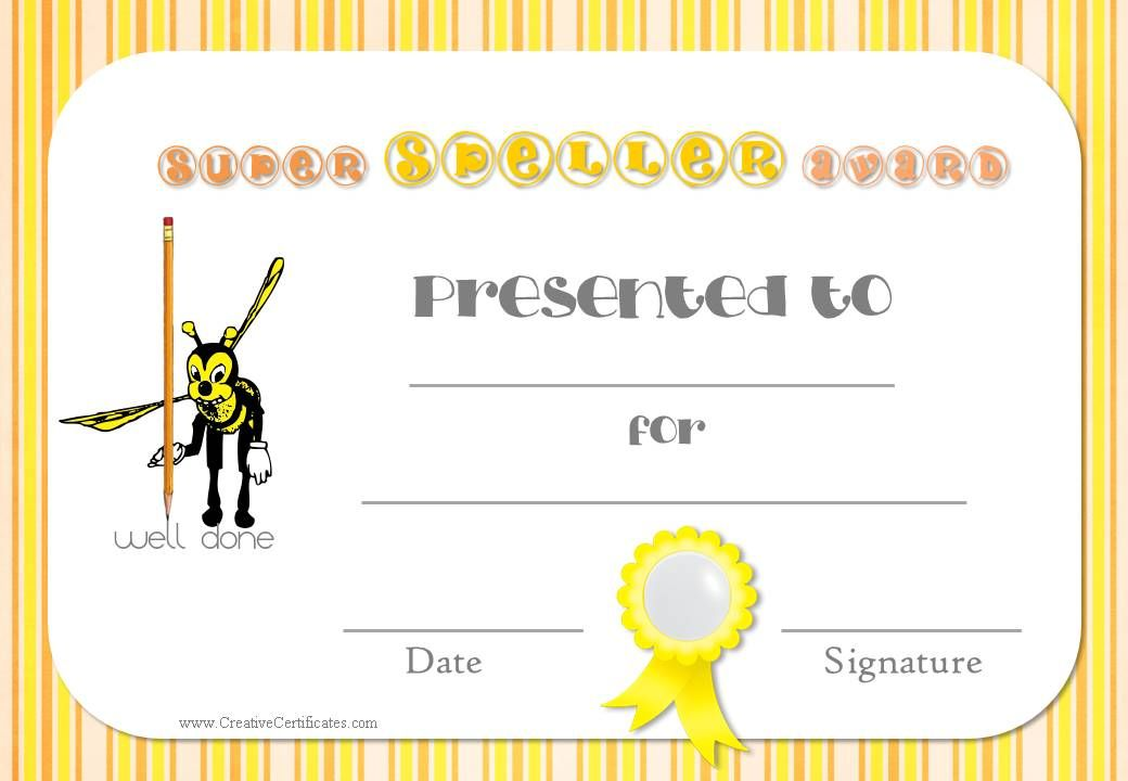 teacher resources - printable award certificates Spelling Bee