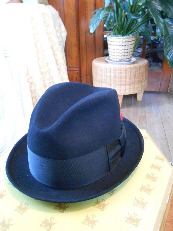 Vintage Mens Fedora Hat 1960s Knox Twenty NYC Custom Edge Black Fur Felt  Brim Hat size 7 1 8 f42b101ce46