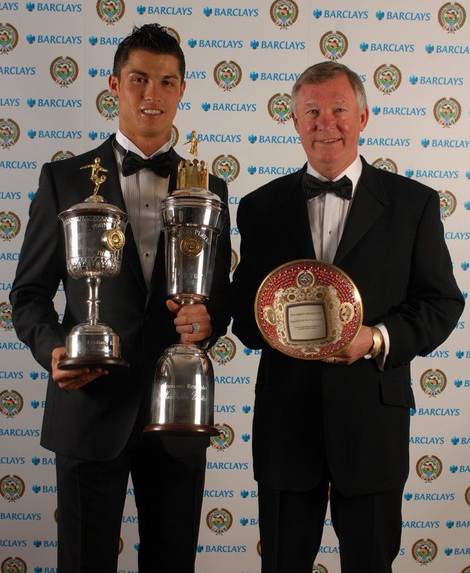 Cristiano Ronaldo Poses With Both The Pfa Young Player Of The Year Award And The Pfa Player Of The Year While Ferguson Displays His Pfa Manchester United Ronaldo Cristiano Ronaldo Manchester