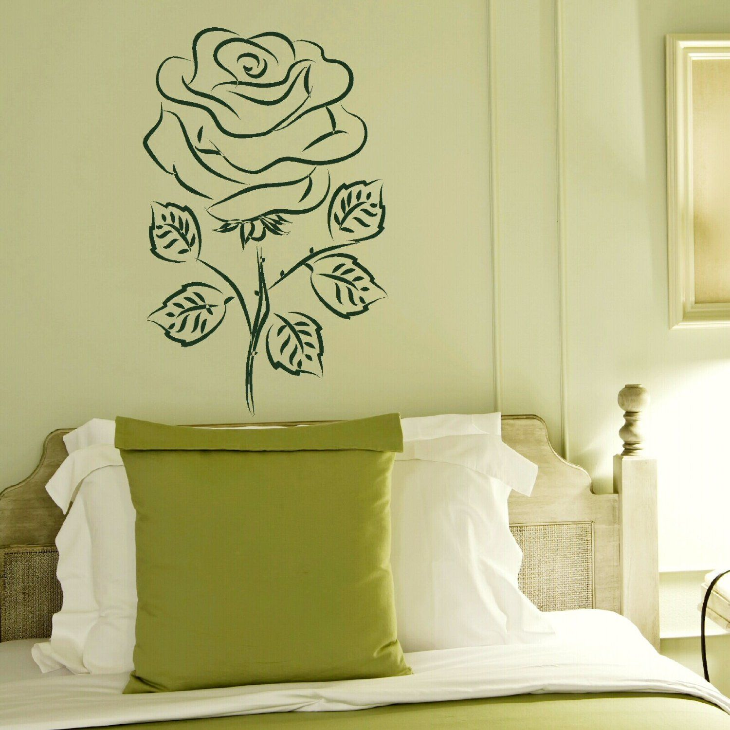 English Rose Floral Wall Transfer / Vinyl Wall Decal / Flower Wall ...