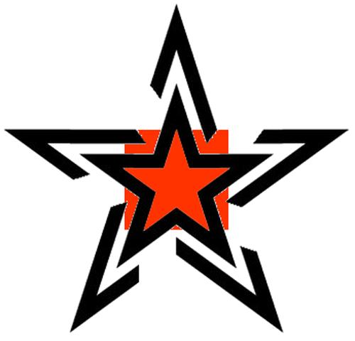 Orange Ink Star Tattoo Design Star Tattoo Designs Star Tattoos Nautical Star Tattoos