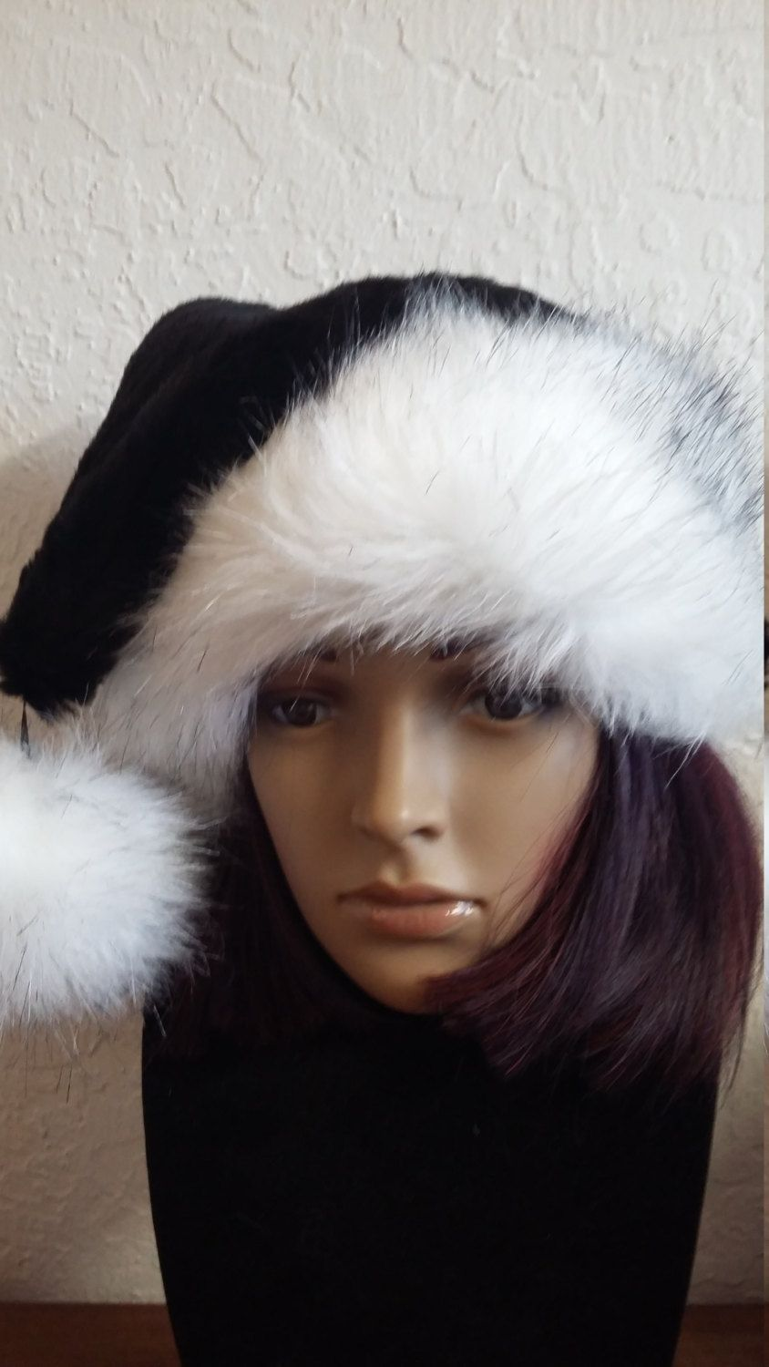 256a977a84857 Limited Edition Black Santa hat with Luxury white trim by OriginalsByEva on  Etsy