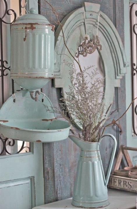 ♥ Aqua--love the old enamelware, and  the color.  Would fit right in the farmhouse perfect.