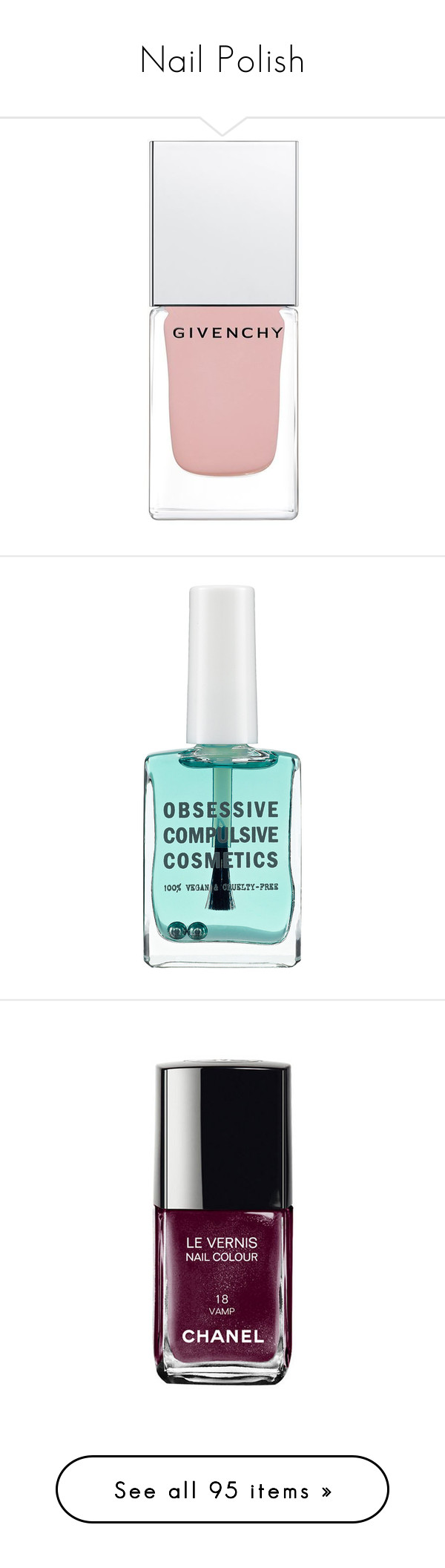 """""""Nail Polish"""" by ouchm4rvel ❤ liked on Polyvore featuring beauty products, nail care, nail polish, makeup, beauty, nails, givenchy, givenchy nail polish, fillers and obsessive compulsive cosmetics nail lacquer"""