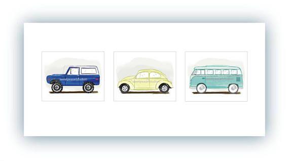 Vintage Transportation Prints Decor