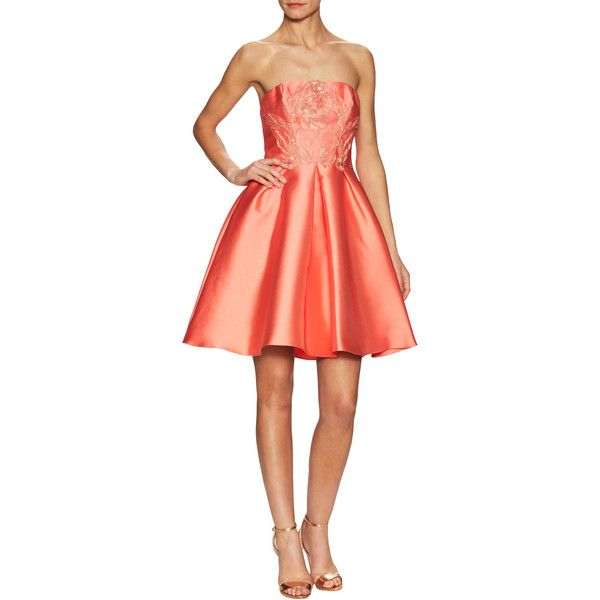 Sara Emanuel Women's Strapless Flare Dress - Red - Size 8 ($90) ❤ liked on Polyvore featuring dresses, red, a-line dresses, flare dress, red dress, a line flared dress and embroidered dresses