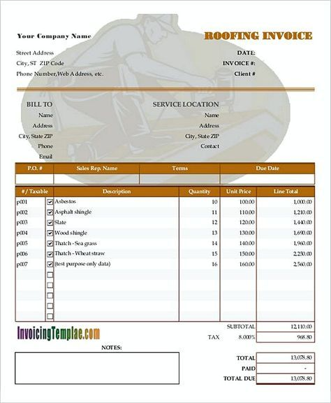 Blank Roof Invoice  How To Plan Roofing Invoice Templates  If