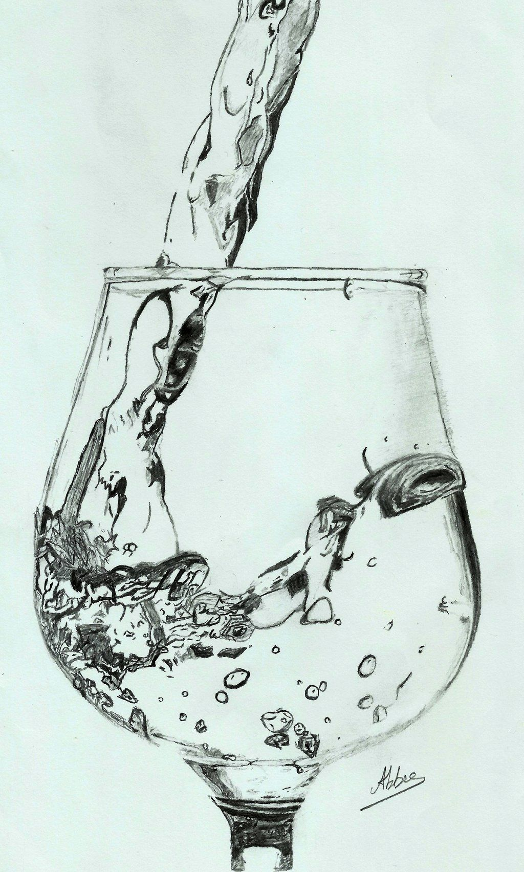 Water Pouring Into A Wine Glass By Abee09 Traditional Art