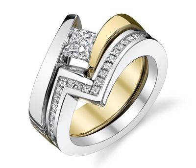 14K White Gold Two Tone Tension Set Engagement Ring With Matching