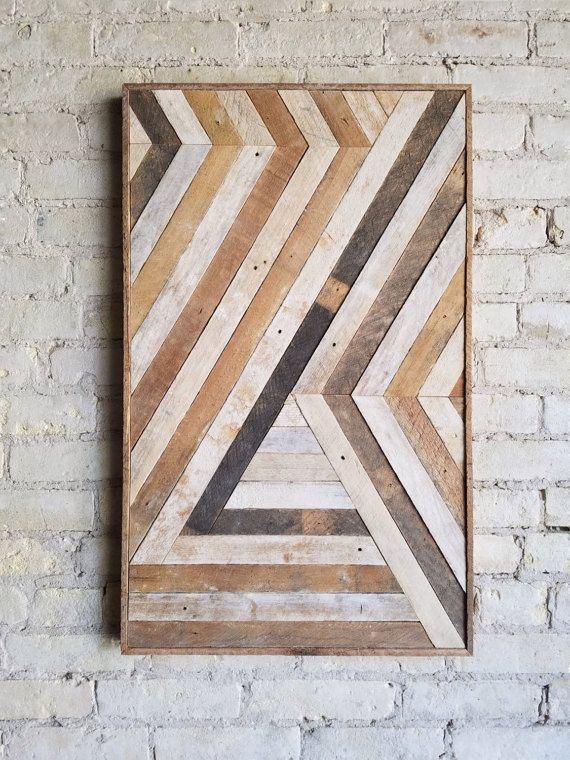 Arte de pared de madera recuperada, decoración de la pared, chevron abstracto, geométrico, diseño de lath Black Friday Venta