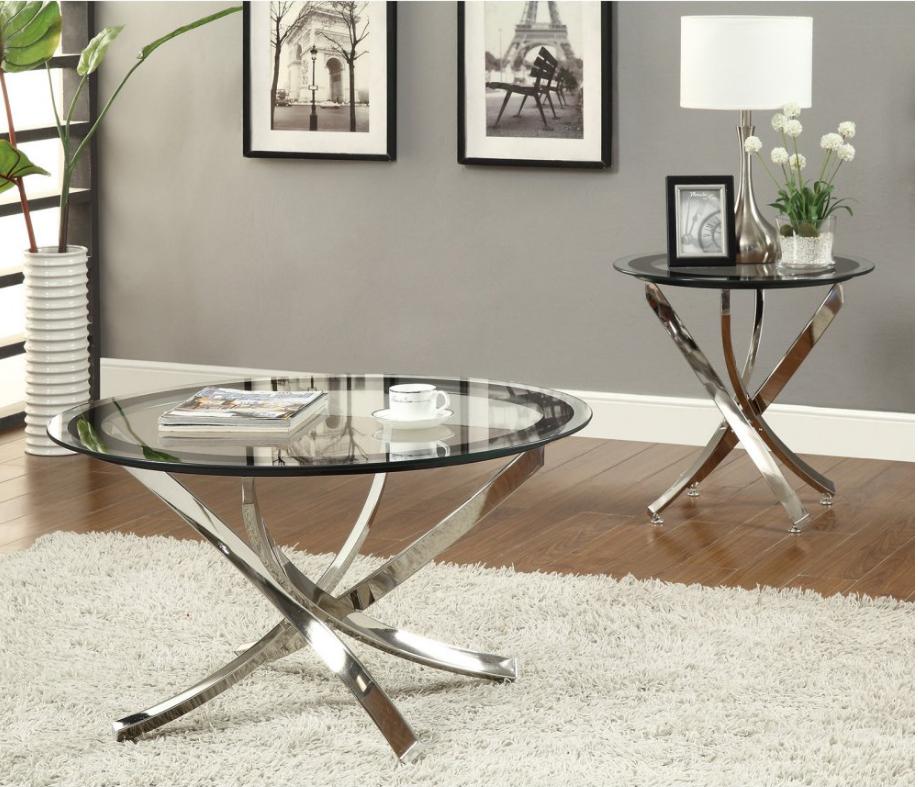 702588 Elegant Black Chrome Coffee Table Set Savvy Discount