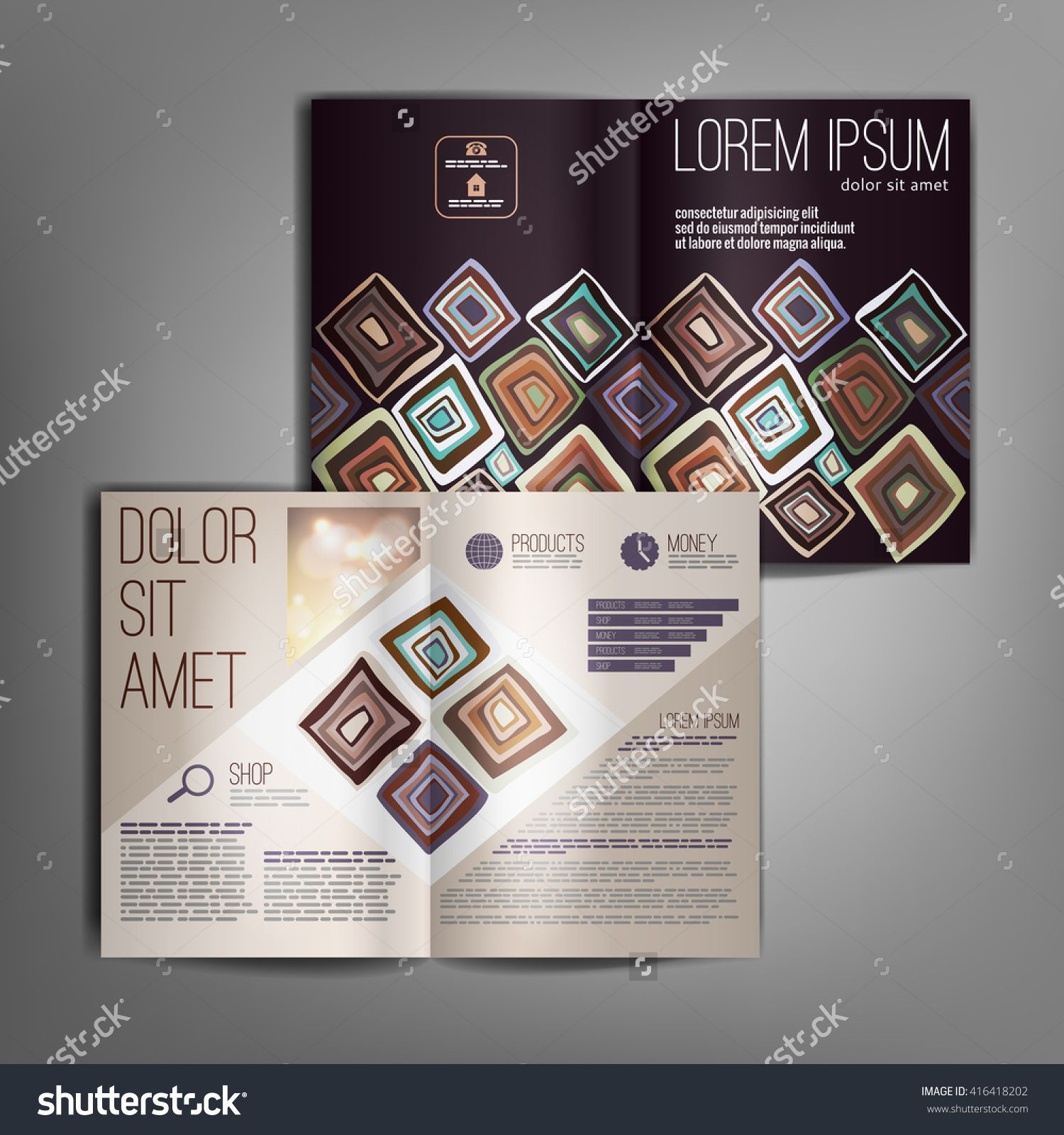 Business brochure design template with hand drawn pattern of rhombuses. Vector flyer layout, cover, poster design.