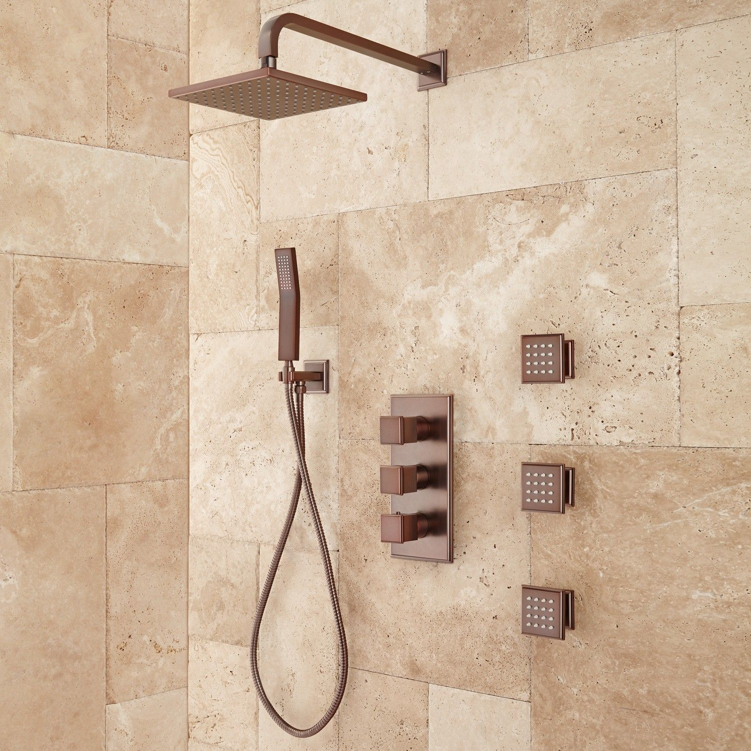 Ryle Thermostatic Shower System with Hand Shower and 3 Body Sprays ...