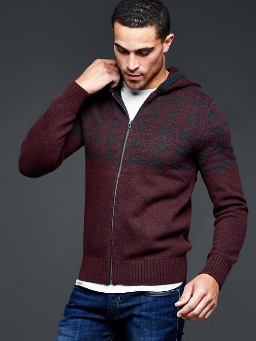 Lambswool fair isle zip sweater hoodie   Clothes   Pinterest   Zip ...