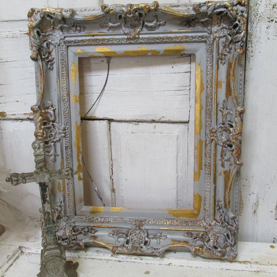 Large wood frame wall hanging gray silver French Nordic antique ...