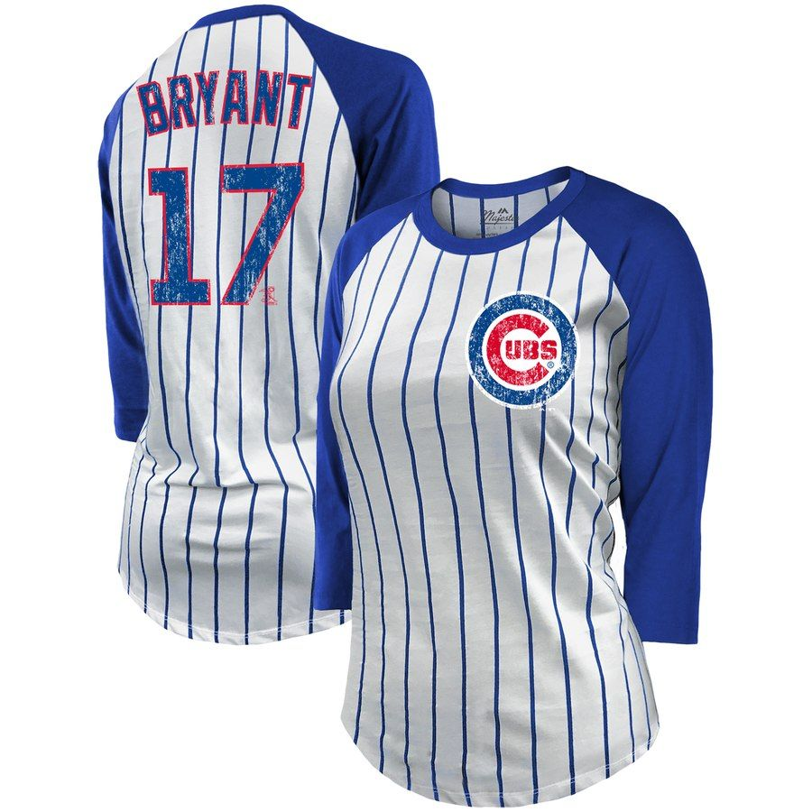 los angeles 6c9f2 e20d6 Kris Bryant Chicago Cubs Majestic Threads Women's Pinstripe ...