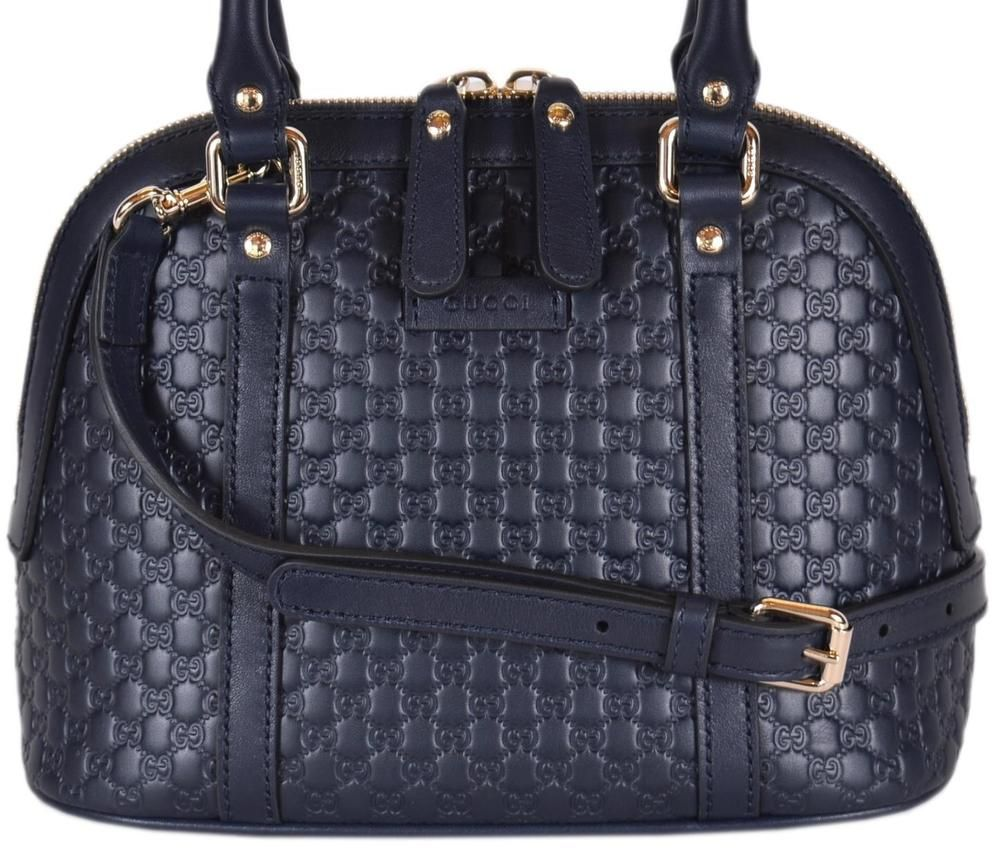 73797bb2996 NEW Gucci 449654  995 Micro GG Dark Blue Leather Convertible Mini Dome Purse   Gucci  Satchel
