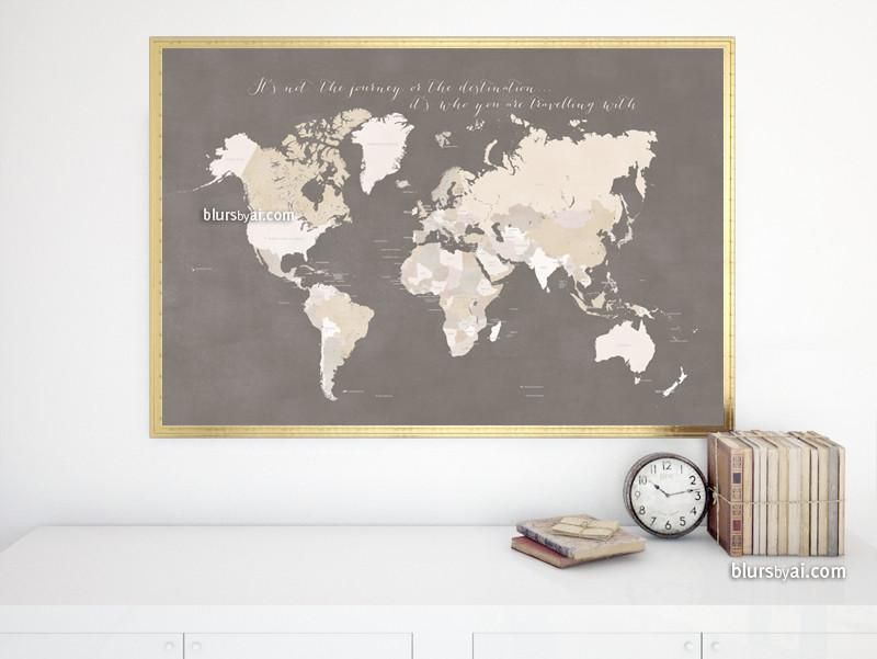Custom quote - PRINTABLE world map with countries, capitals, cities ...