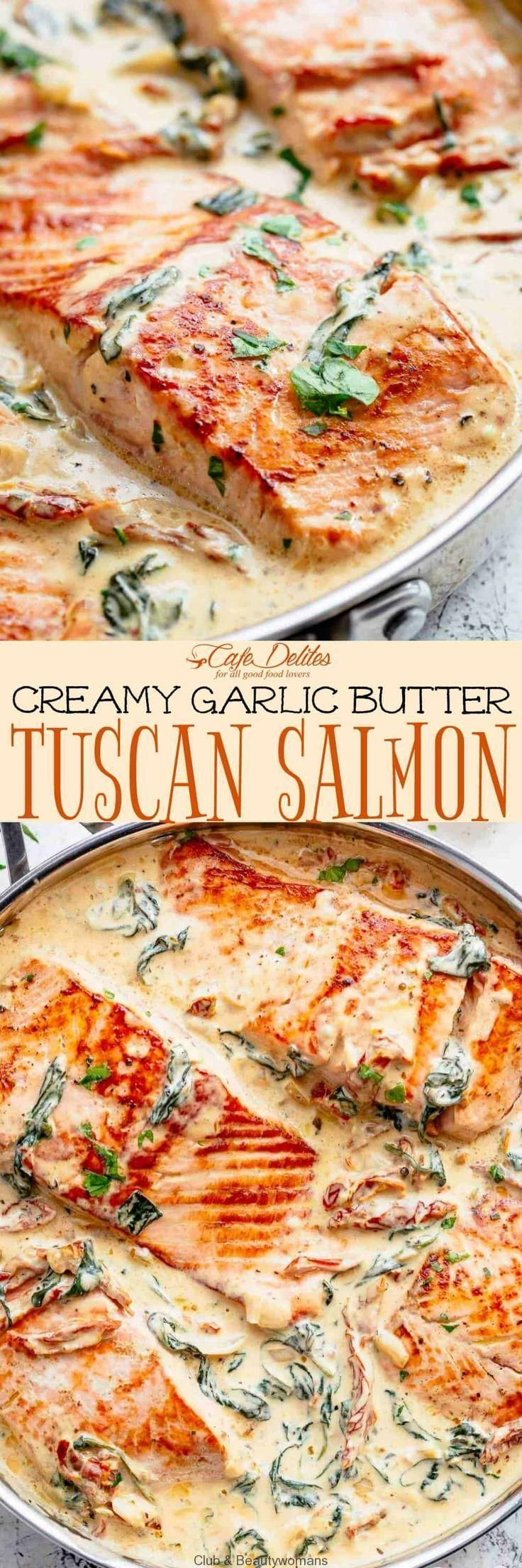 Photo of Creamy Garlic Butter Tuscan Salmon is a restaurant quality pan seared salmon in …