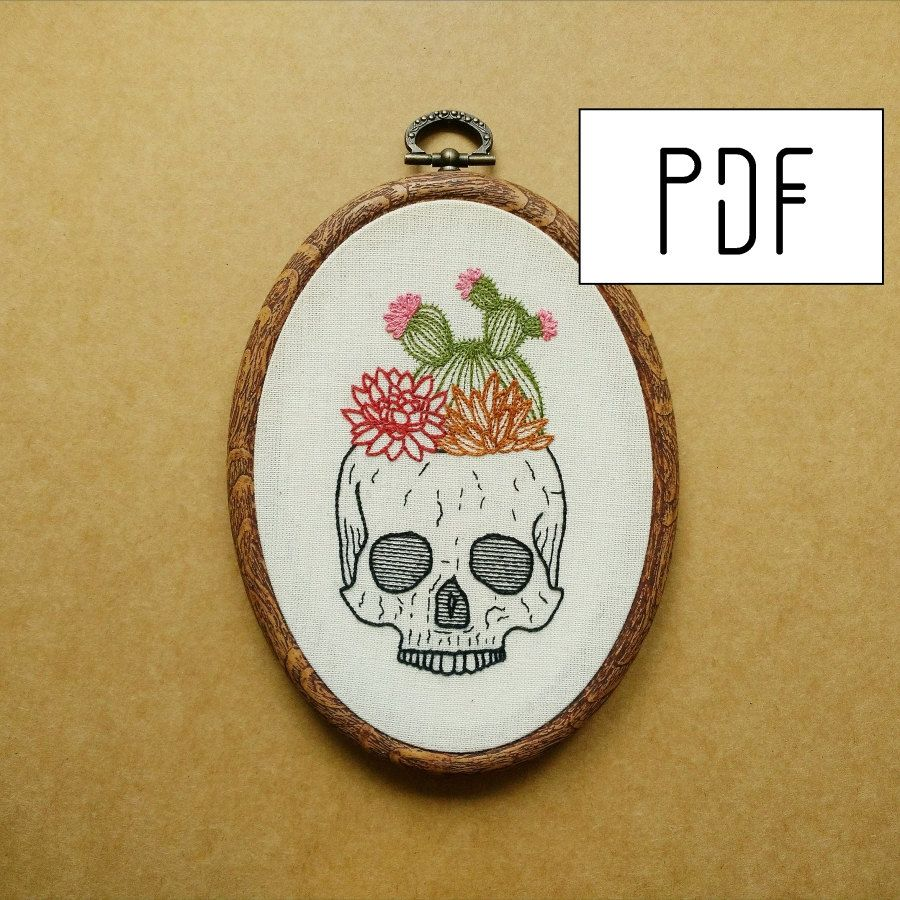 Cactus and succulent skull planter hand embroidery pattern