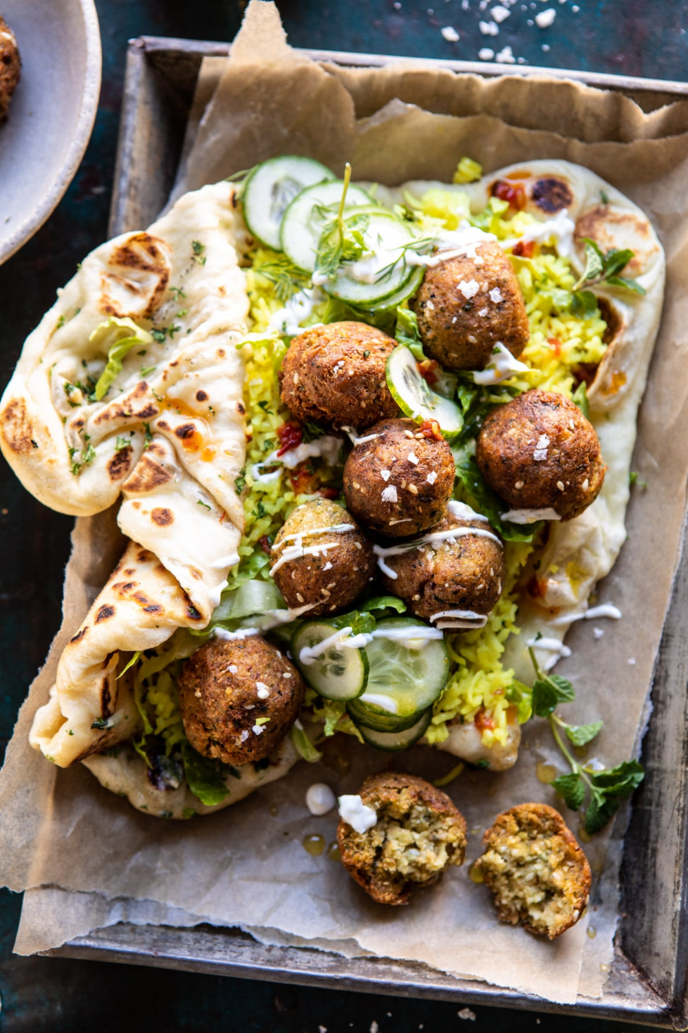 Falafel Naan Wraps with Golden Rice and Special Sauce. – Half Baked Harvest