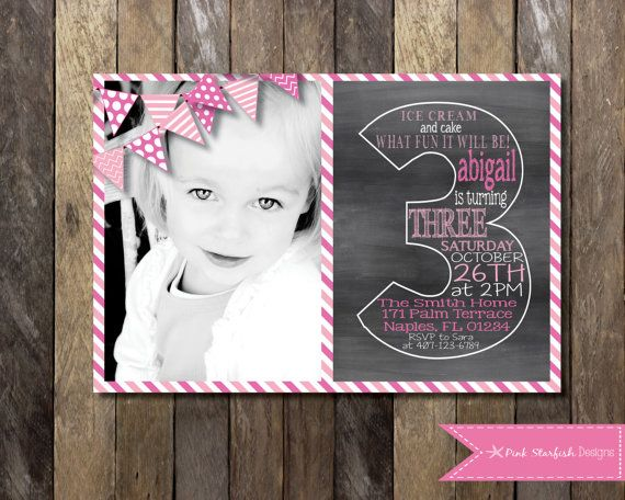 PRINTABLE Chalkboard Third Birthday Invitation with Picture 3rd
