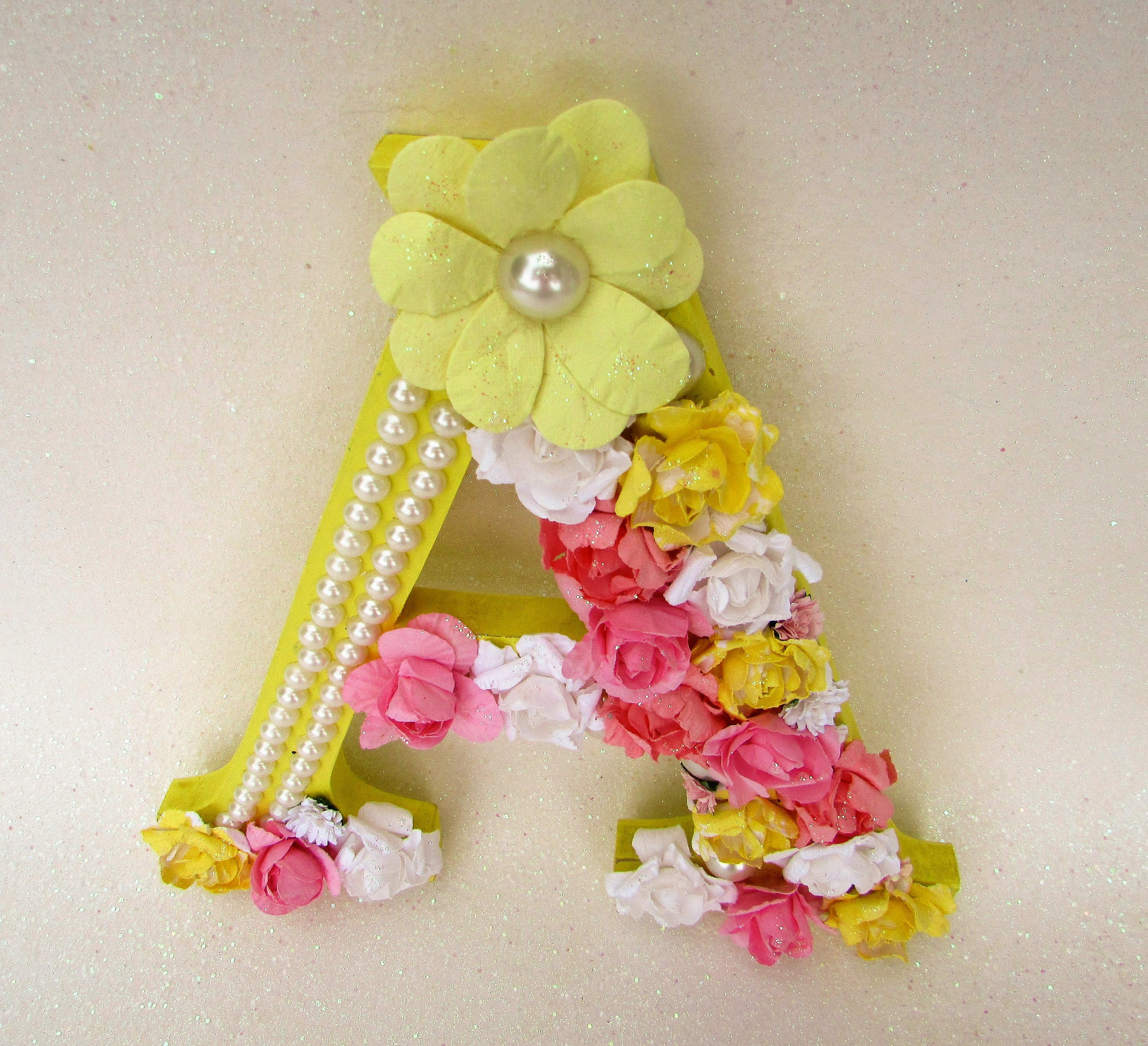 Flower name letter - Custom name letter - Floral letter a - Yellow ...
