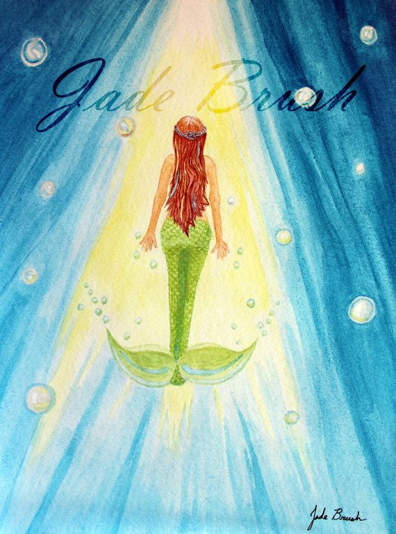 Watercolor Figure of a Curious Lime Green Red Head Mermaid Swimming Toward the Light in a Sea of Bubbles by jadebrushArt on Etsy