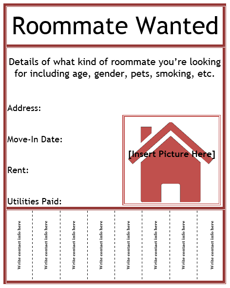 Find Rental: Roommate Wanted Flyer Template