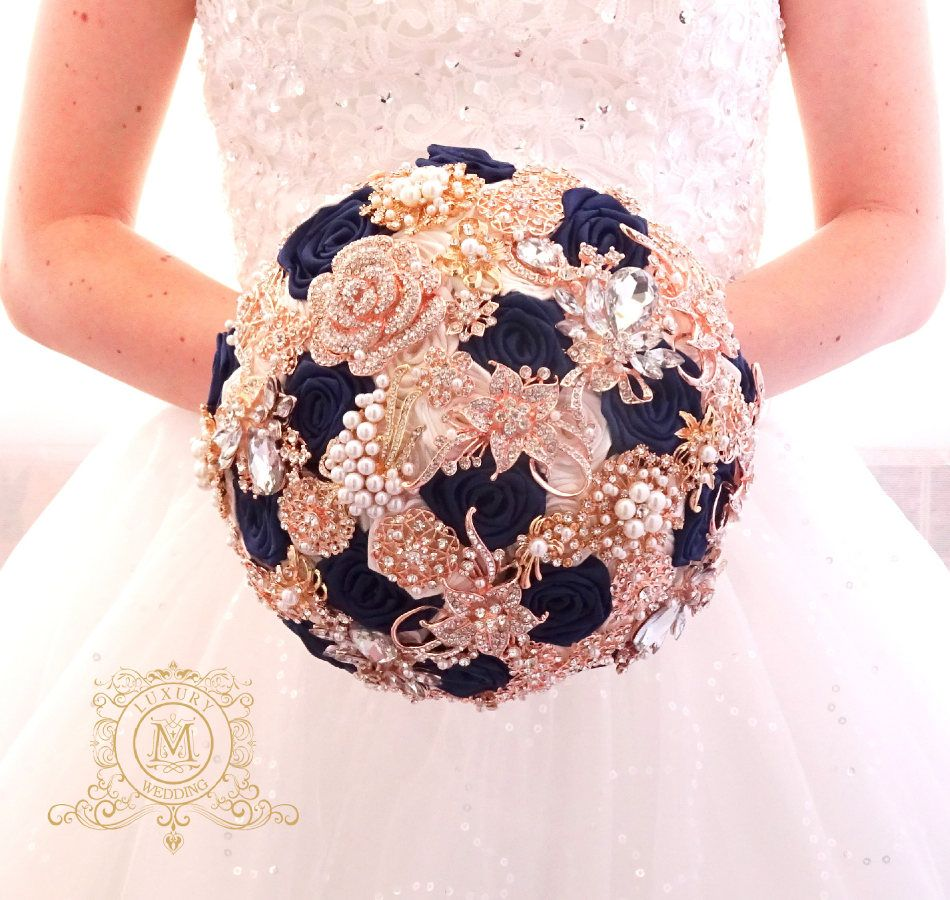 Brooch Bouquet Navy Blue Ivory Or White Color Rose Gold Jeweled