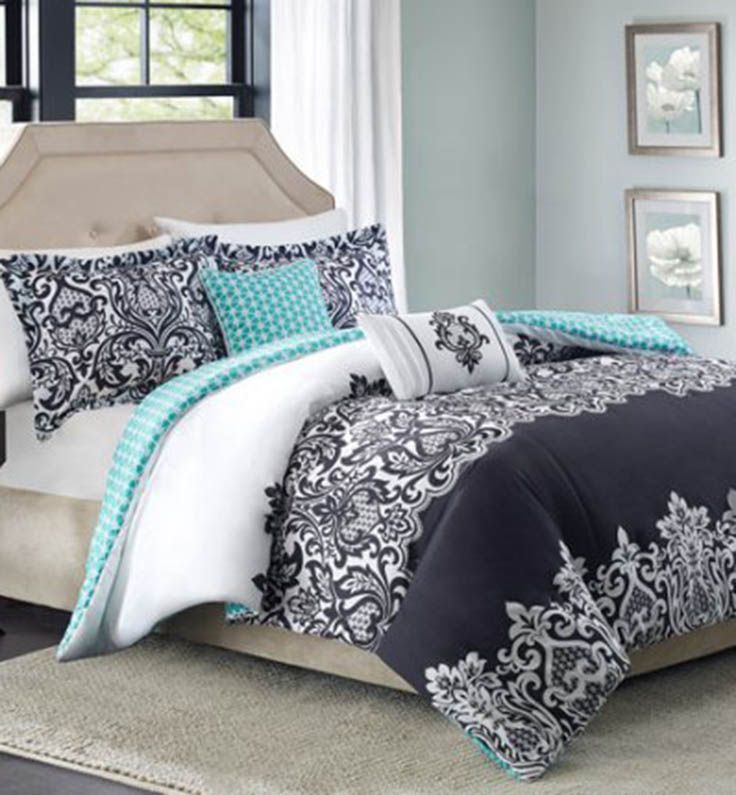 Black And White Damask 5 Piece Bedding Comforter Set From Better Homes And  Gardens At