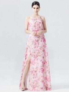 Long Pink Wonderland Dress with Slit; Color: Pink Wonderland ...