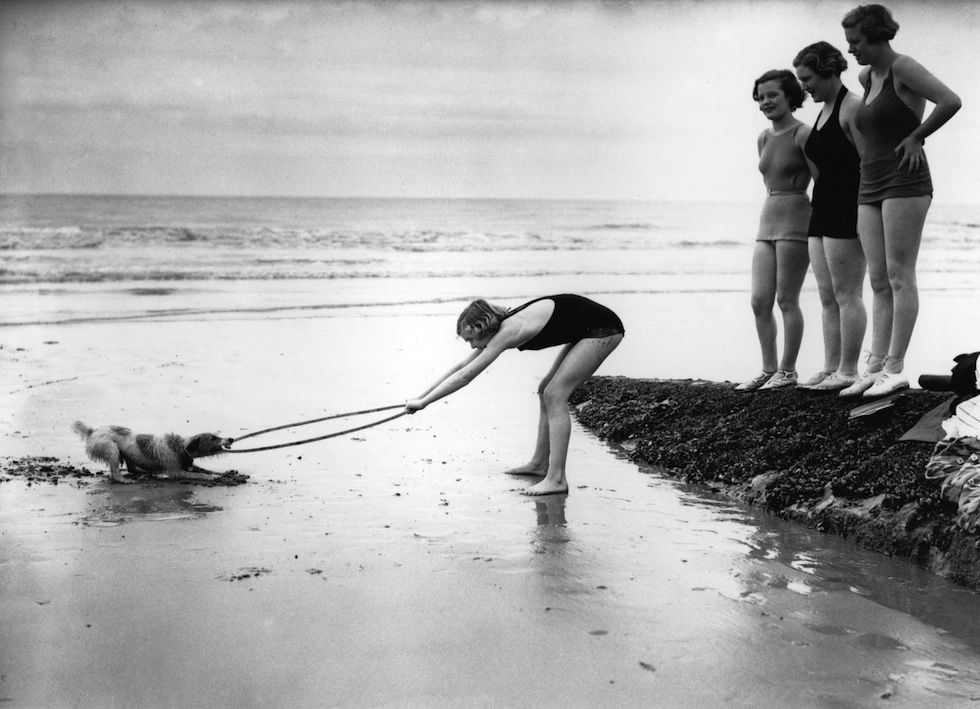 Tiro alla fune  In spiaggia a St Leonards nell'East Sussex, in Inghilterra, nel 1936 (Fox Photos/Getty Images)