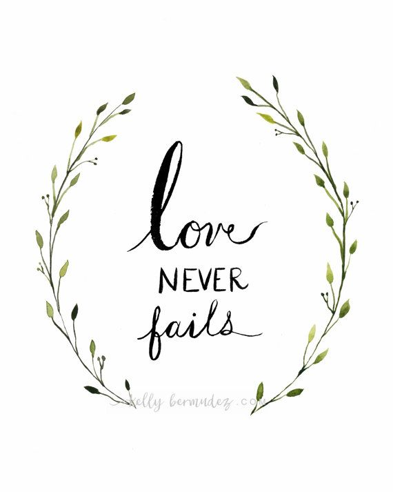 Love never fails wreath hand lettering by