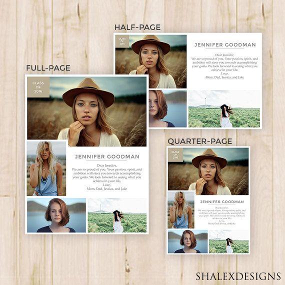 Senior Yearbook Ads - Magazine Style - Photoshop Template PSD ...