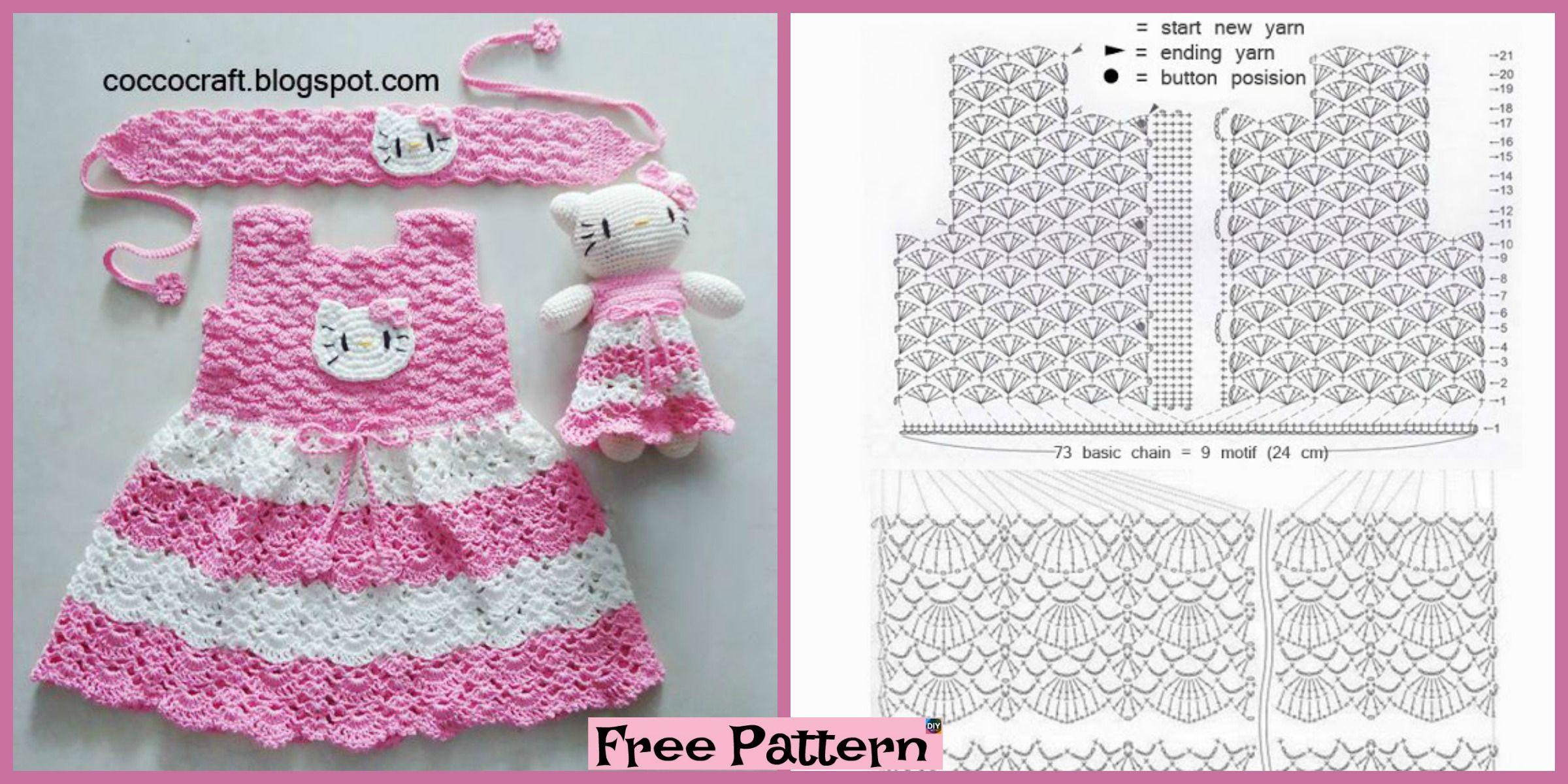 MANUALIDADES DE LANA: VESTIDO HELLO KITTY DE CROCHET 13167   Crochet ...